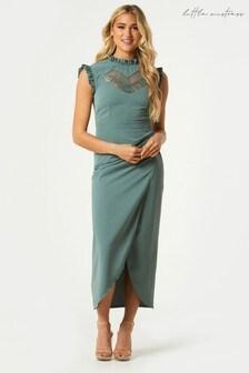 Little Mistress Sabrin Lace Insert Mock Wrap Midaxi Dress