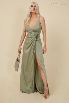 Little Mistress Bridesmaid Ayla Waterlily Satin Wrap Dress