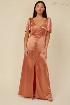 Little Mistress Bridesmaid Nala Rust Satin Button Detail Maxi Dress