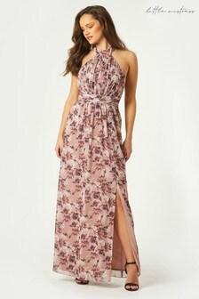 Little Mistress Elon Mink Floral Print Halterneck Maxi Dress