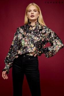 Topshop Idol Floral Ruffle Yoke Blouse