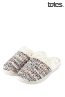 Totes Ladies Knit Mule With Faux Fur Cuff Slippers