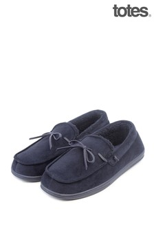 Totes Mens Herringbone Velour Moccasin Slippers