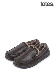 Totes Mens Distressed Moccasin Slippers