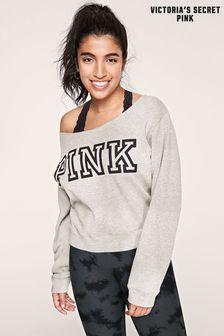 Victoria's Secret PINK Classic Logo Off Shoulder Sweatshirt