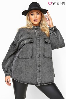 Yours Curve Acid Wash Balloon Sleeve Denim Jacket