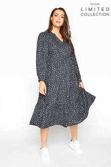 Yours Limited Collection Leopard Print Tiered Smock Midi Dress