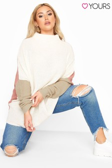 Yours Colour Block Oversized Knitted Jumper