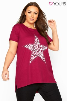 Yours Animal Print Star Studded Top