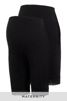 Mamalicious Maternity 2 Pack Lace Trim Legging Shorts