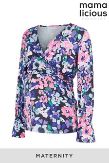 Mamalicious Maternity and Nursing Floral Wrap Jersey Top