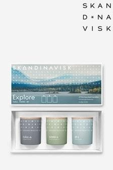 SKANDINAVISK EXPLORE TRIO Mini Candle Giftset FJALL,FJORD, OY