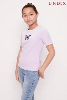 Lindex Velour Butterfly Motif T-Shirt