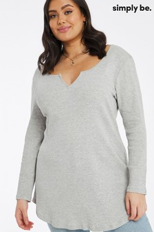 Simply Be Notch Front Long Sleeve Ribbed Tunic