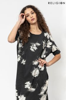 Religion Tunic Dress With Pockets In Dark Floral