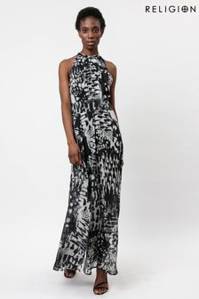 Religion Floaty Maxi Dress In Monochrome Print