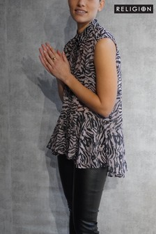 Religion Sleeveless Shirt With Peblum Detail In Print