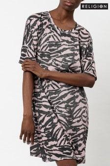Religion Tunic Jersey Tee Dress In Animal Print