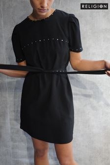 Religion Shift Dress With Stud Details