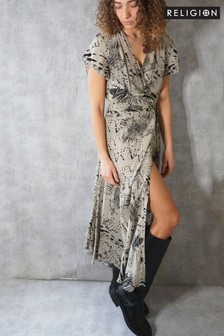 Religion Maxi Wrap Dress In Abstract Animal Print