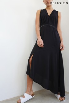 Religion Maxi Dress With Assymetric Hem And Stud Detailing