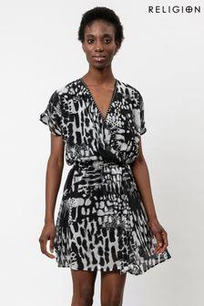 Religion Skater Dress With Wrap Detail In Monochrome Print