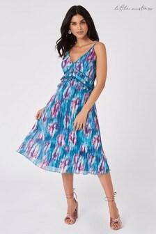 Little Mistress Sumner Blue Tie-Dye Print Midi Dress