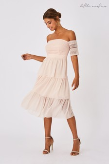 Little Mistress Mariska Nude Crochet Lace Tiered Midi Dress