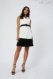 Little Mistress Crescent Pleated Hem Belted Mini Dress