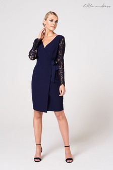 Little Mistress Sapporo Lace Sleeve Wrap Dress