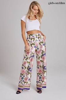 Little Mistress Azalea Floral-Print Wide-Leg Trousers