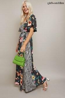 Girls On Film Clarity Mixed-Print Wrap Maxi Dress