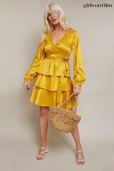 Girls On Film Alfie Satin Frill Mini Dress