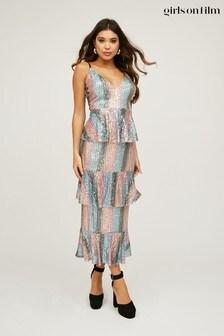 Little Mistress Trixie Sequin Tiered Ruffle Midi Dress