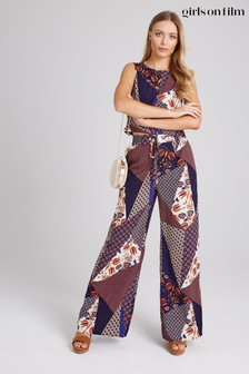 Little Mistress Iris Mixed-Print Trousers