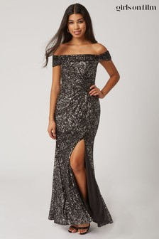 Girls On Film Onyx Sequin Bardot Maxi Dress