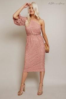 Little Mistress Naomi Lace One-Shoulder Belted Midi Pencil Dress