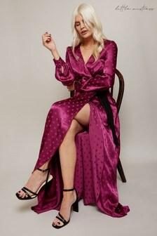 Little Mistress Tasmin Polka-Dot Asymmetric Maxi Wrap Dress
