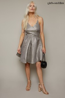 Little Mistress Metallic Spot Jacquard Fit And Flare Dress
