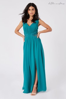 Little Mistress Halston Aquatic Jade Lace Applique Maxi Dress