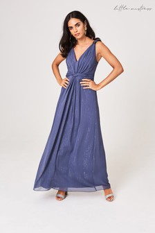 Little Mistress Anaïs Lavender Grey Ring Detail Maxi Dress