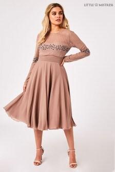Little Mistress Georgie Mink Hand Embellished Midi Dress