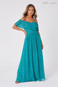 Little Mistress Halston Aquatic Jade Spot Frill Maxi Dress