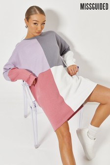 Missguided Oversized Colour Block Sweater Dress