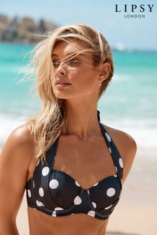 Lipsy Mono Spot Halter Bikini Top