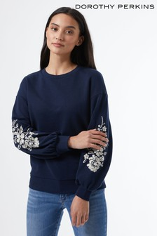 Dorothy Perkins Embroidered Sleeve Sweat