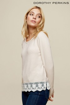 Dorothy Perkins Lace Hem Brushed Jumper