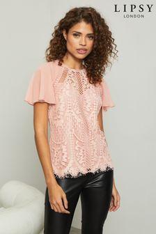 Lipsy VIP Lace Chiffon Sleeve Top
