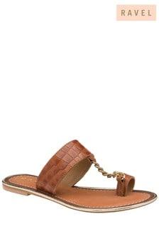 Ravel CrocPrint Leather Mule Sandals