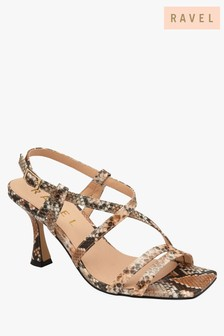 Ravel Snake Print Open Toe Sandals
